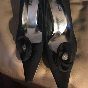 Gold Line Black Heels with flower and Rhinestones